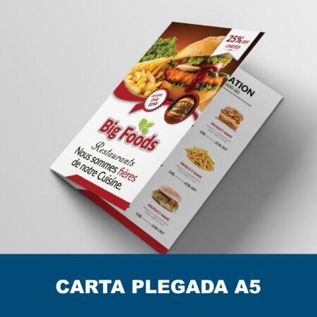Carta menú díptico A5