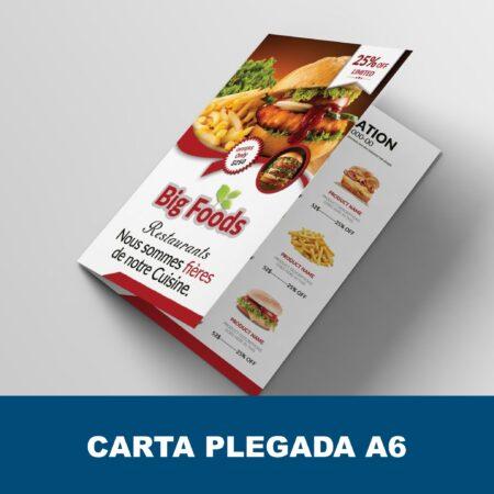 Carta menú díptico A6